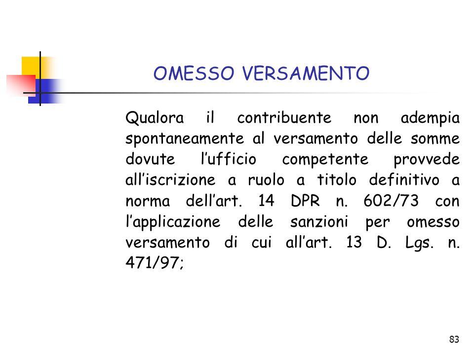 83 OMESSO VERSAMENTO Qualora il contribuente non adempia spontaneamente al versamento delle somme dovute l'ufficio competente provvede all'iscrizione