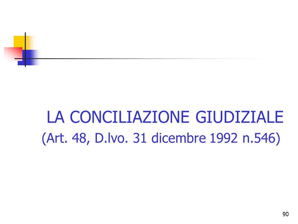 90 LA CONCILIAZIONE GIUDIZIALE (Art. 48, D.lvo. 31 dicembre 1992 n.546)