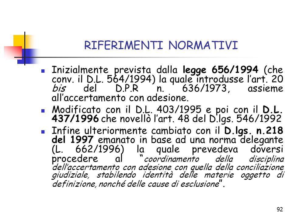 92 RIFERIMENTI NORMATIVI Inizialmente prevista dalla legge 656/1994 (che conv. il D.L. 564/1994) la quale introdusse l'art. 20 bis del D.P.R n. 636/19