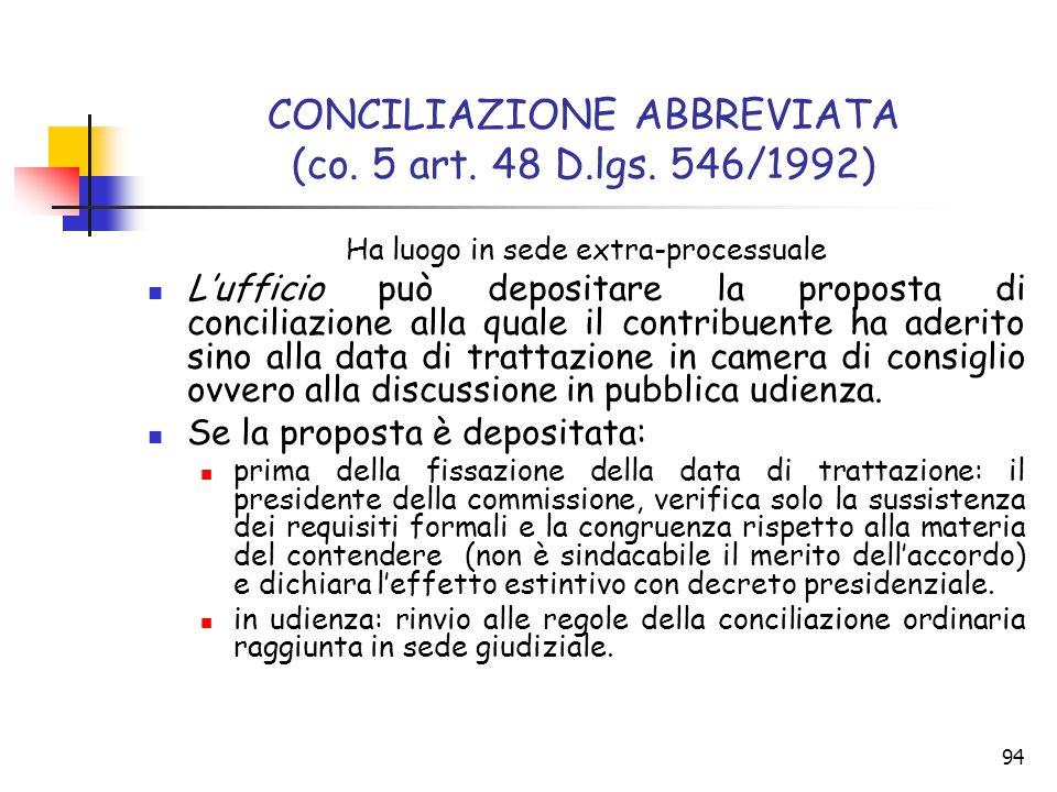 94 CONCILIAZIONE ABBREVIATA (co. 5 art. 48 D.lgs. 546/1992) Ha luogo in sede extra-processuale L'ufficio può depositare la proposta di conciliazione a