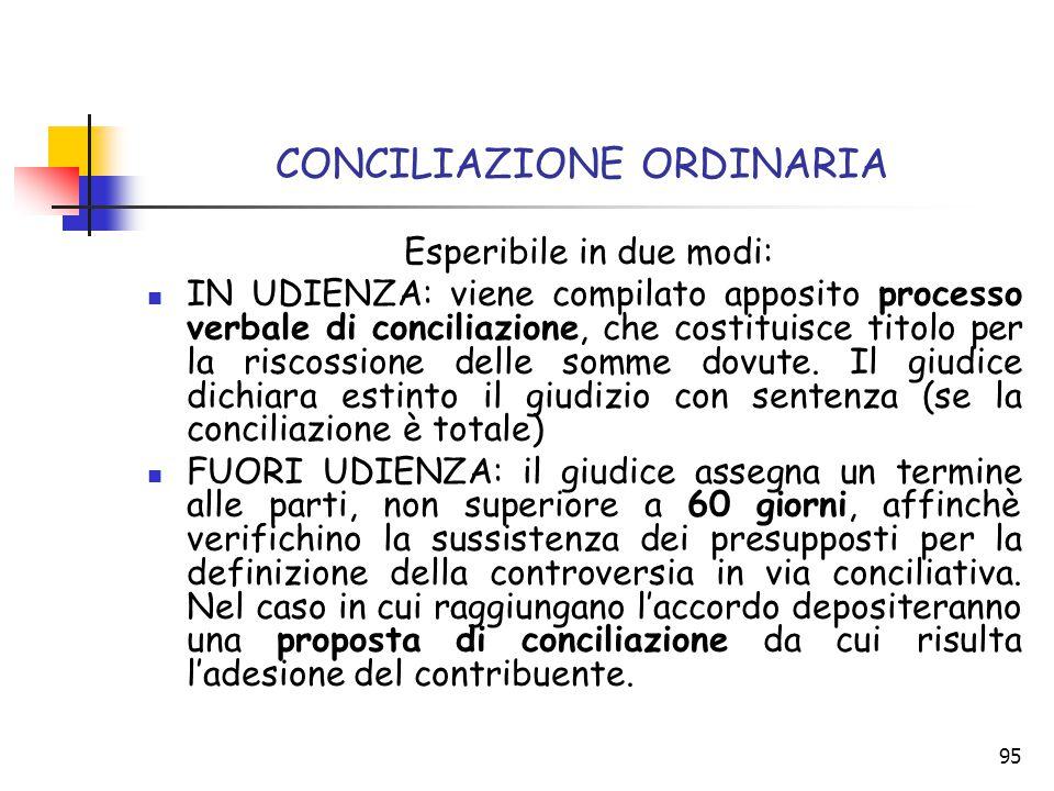 95 CONCILIAZIONE ORDINARIA Esperibile in due modi: IN UDIENZA: viene compilato apposito processo verbale di conciliazione, che costituisce titolo per