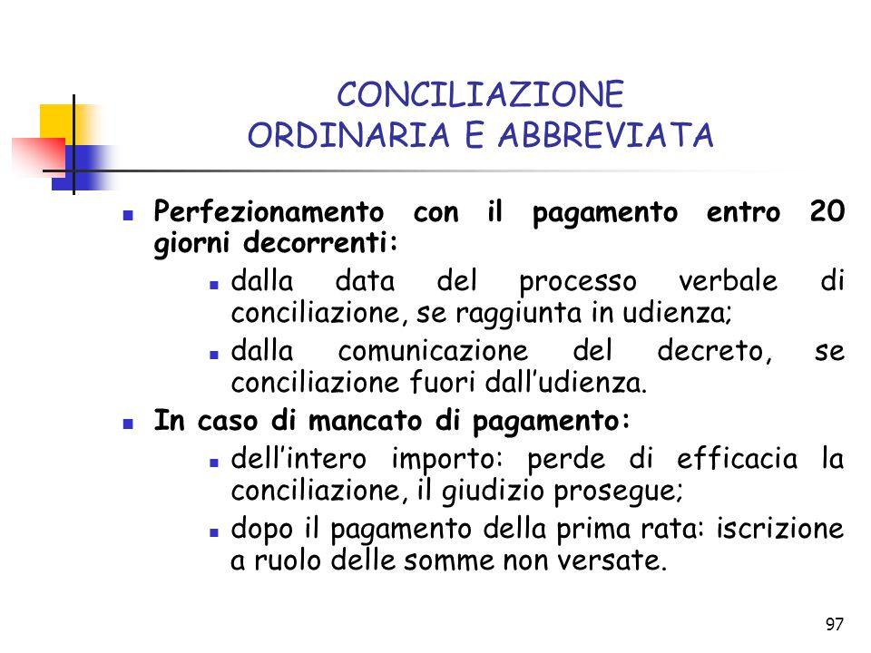 97 CONCILIAZIONE ORDINARIA E ABBREVIATA Perfezionamento con il pagamento entro 20 giorni decorrenti: dalla data del processo verbale di conciliazione,