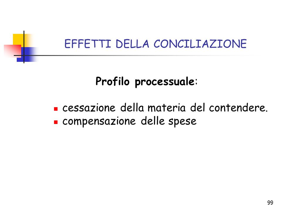 99 EFFETTI DELLA CONCILIAZIONE Profilo processuale: cessazione della materia del contendere. compensazione delle spese