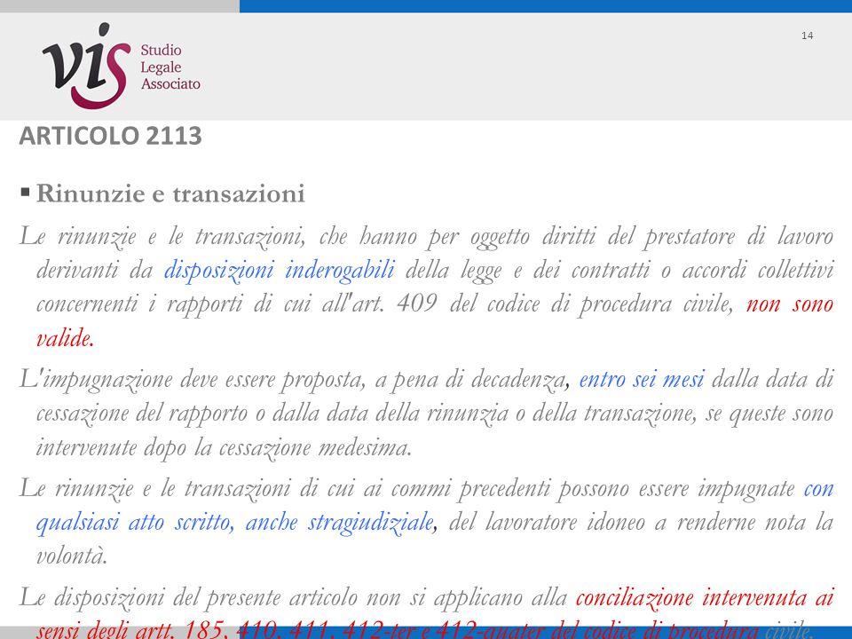 ARTICOLO 2113  Rinunzie e transazioni Le rinunzie e le transazioni, che hanno per oggetto diritti del prestatore di lavoro derivanti da disposizioni