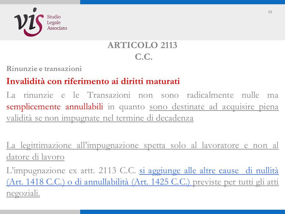 ARTICOLO 2113 C.C. Rinunzie e transazioni Invalidità con riferimento ai diritti maturati La rinunzie e le Transazioni non sono radicalmente nulle ma s