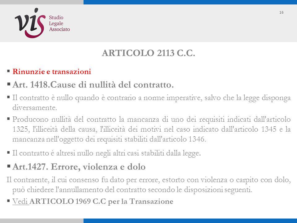 ARTICOLO 2113 C.C.  Rinunzie e transazioni  Art. 1418.Cause di nullità del contratto.  Il contratto è nullo quando è contrario a norme imperative,