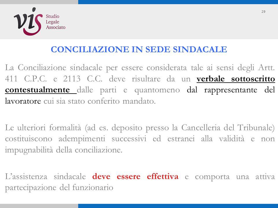 La Conciliazione sindacale per essere considerata tale ai sensi degli Artt. 411 C.P.C. e 2113 C.C. deve risultare da un verbale sottoscritto contestua