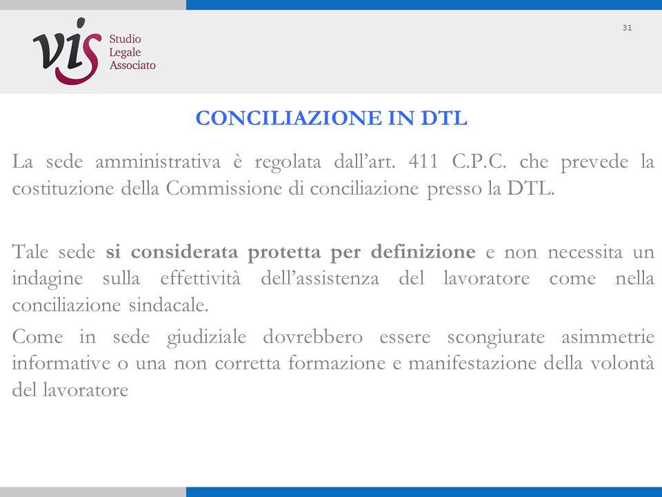 La sede amministrativa è regolata dall'art. 411 C.P.C. che prevede la costituzione della Commissione di conciliazione presso la DTL. Tale sede si cons