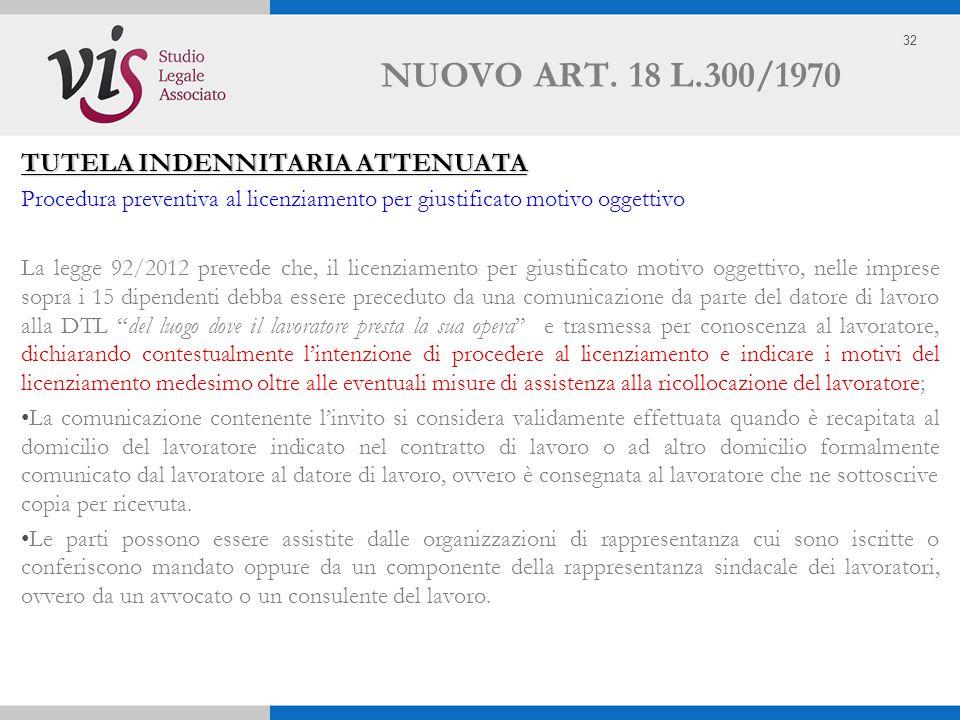 32 NUOVO ART. 18 L.300/1970 TUTELA INDENNITARIA ATTENUATA Procedura preventiva al licenziamento per giustificato motivo oggettivo La legge 92/2012 pre