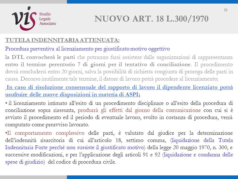 33 NUOVO ART. 18 L.300/1970 TUTELA INDENNITARIA ATTENUATA: Procedura preventiva al licenziamento per giustificato motivo oggettivo la DTL convocherà l