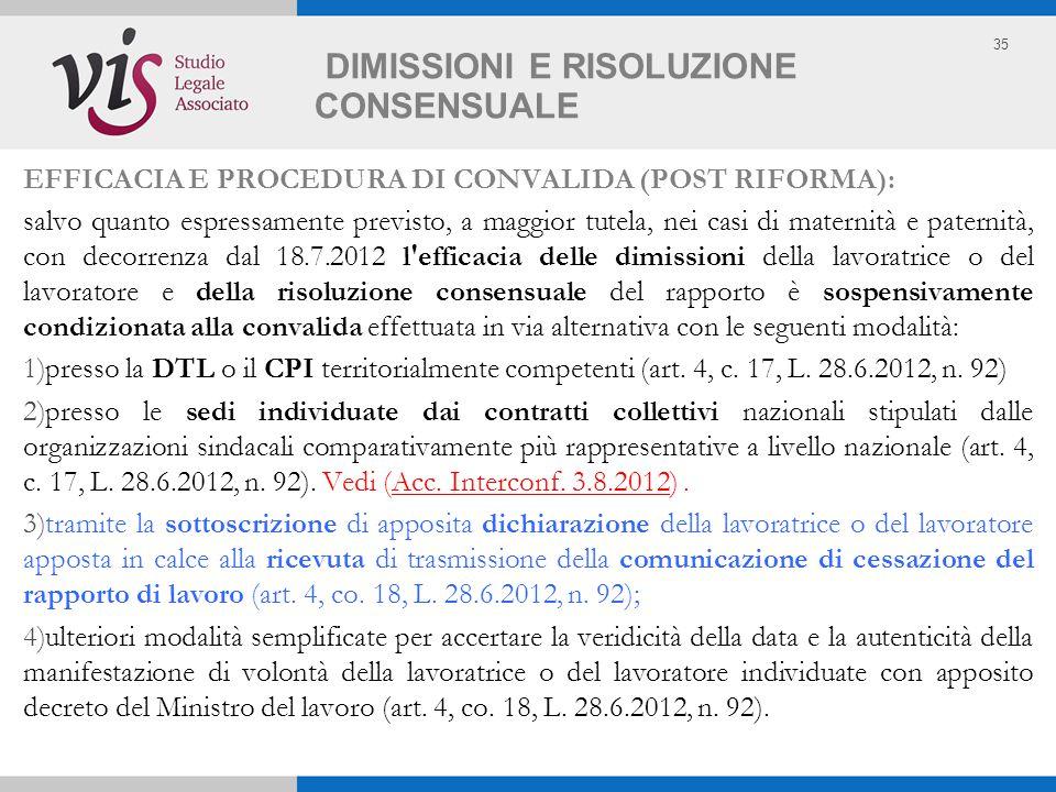 35 DIMISSIONI E RISOLUZIONE CONSENSUALE EFFICACIA E PROCEDURA DI CONVALIDA (POST RIFORMA): salvo quanto espressamente previsto, a maggior tutela, nei