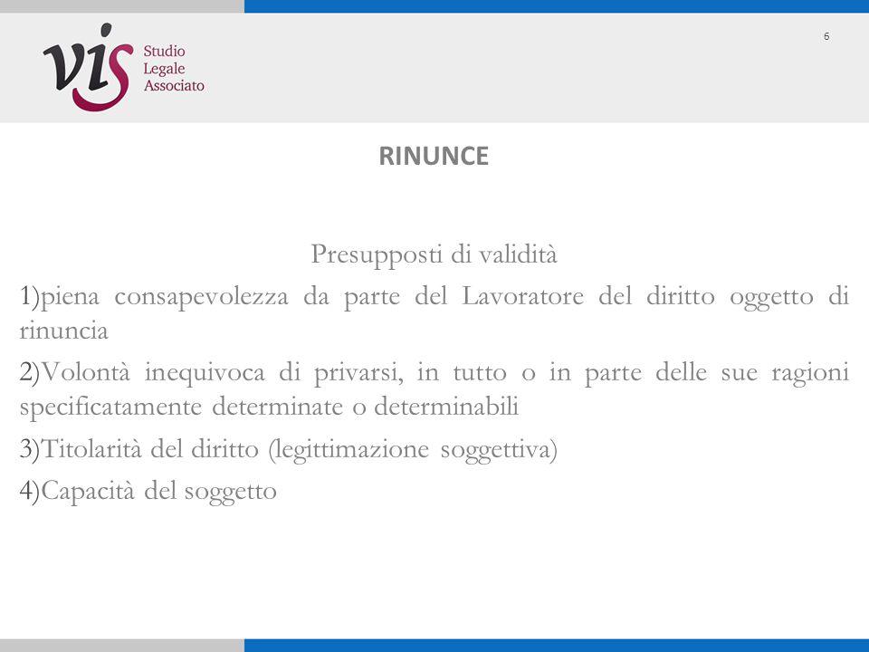 ARTICOLO 2113 Rinunzie e transazioni Ambito soggettivo Le rinunzie e le transazioni, che hanno per oggetto diritti del prestatore di lavoro derivanti da disposizioni inderogabili della legge e dei contratti o accordi collettivi concernenti i rapporti di cui all art.