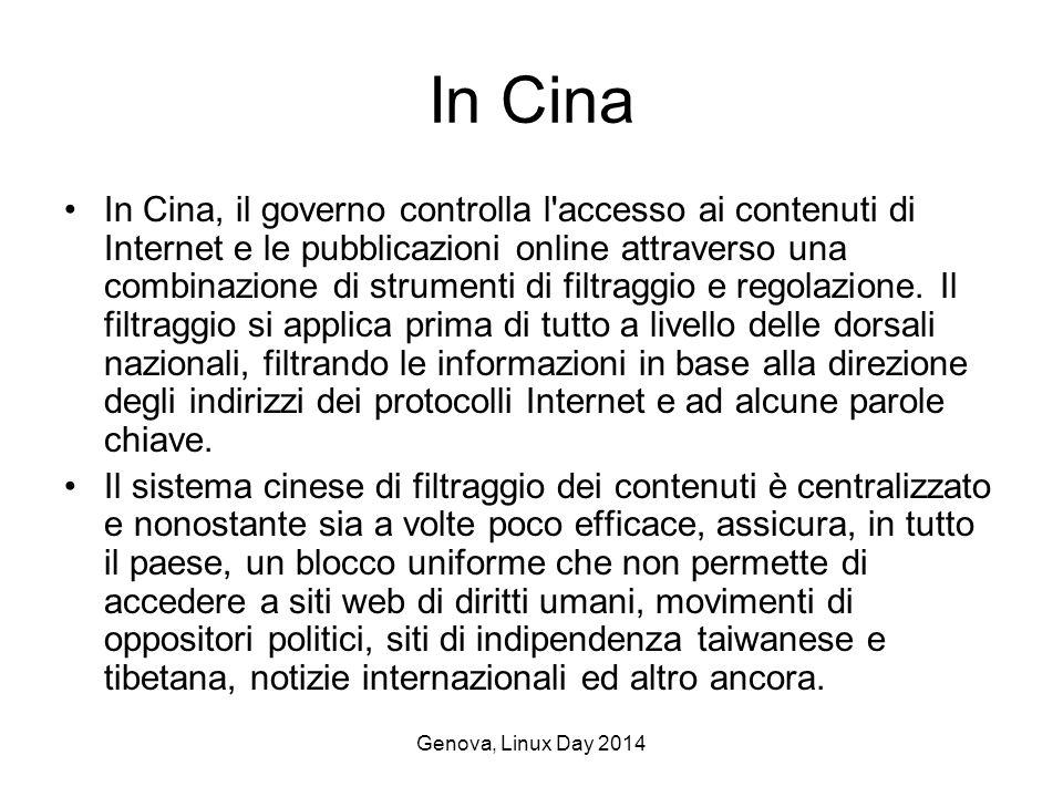 Genova, Linux Day 2014 In Cina In Cina, il governo controlla l accesso ai contenuti di Internet e le pubblicazioni online attraverso una combinazione di strumenti di filtraggio e regolazione.