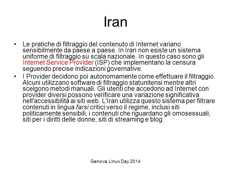 Genova, Linux Day 2014 Iran Le pratiche di filtraggio del contenuto di Internet variano sensibilmente da paese a paese.