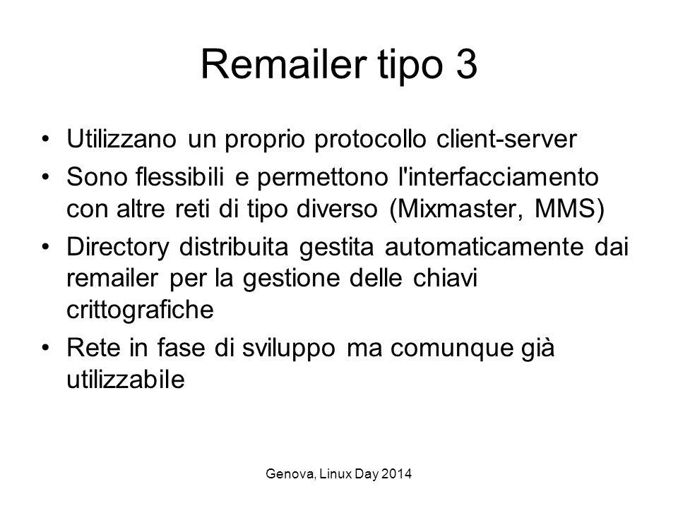 Genova, Linux Day 2014 Remailer tipo 3 Utilizzano un proprio protocollo client-server Sono flessibili e permettono l interfacciamento con altre reti di tipo diverso (Mixmaster, MMS) Directory distribuita gestita automaticamente dai remailer per la gestione delle chiavi crittografiche Rete in fase di sviluppo ma comunque già utilizzabile