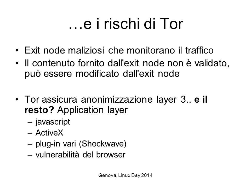 Genova, Linux Day 2014 …e i rischi di Tor Exit node maliziosi che monitorano il traffico Il contenuto fornito dall exit node non è validato, può essere modificato dall exit node Tor assicura anonimizzazione layer 3..