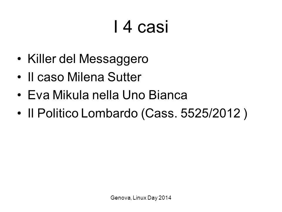 Genova, Linux Day 2014 I 4 casi Killer del Messaggero Il caso Milena Sutter Eva Mikula nella Uno Bianca Il Politico Lombardo (Cass.
