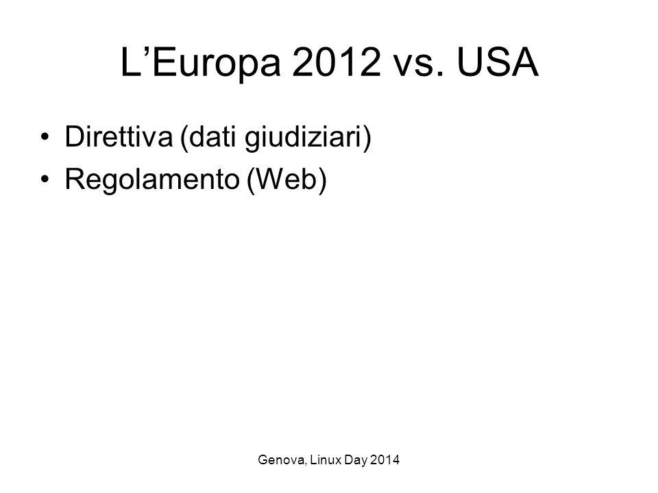 Genova, Linux Day 2014 L'Europa 2012 vs. USA Direttiva (dati giudiziari) Regolamento (Web)