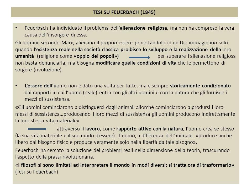 TESI SU FEUERBACH (1845) Feuerbach ha individuato il problema dell'alienazione religiosa, ma non ha compreso la vera causa dell'insorgere di essa: Gli