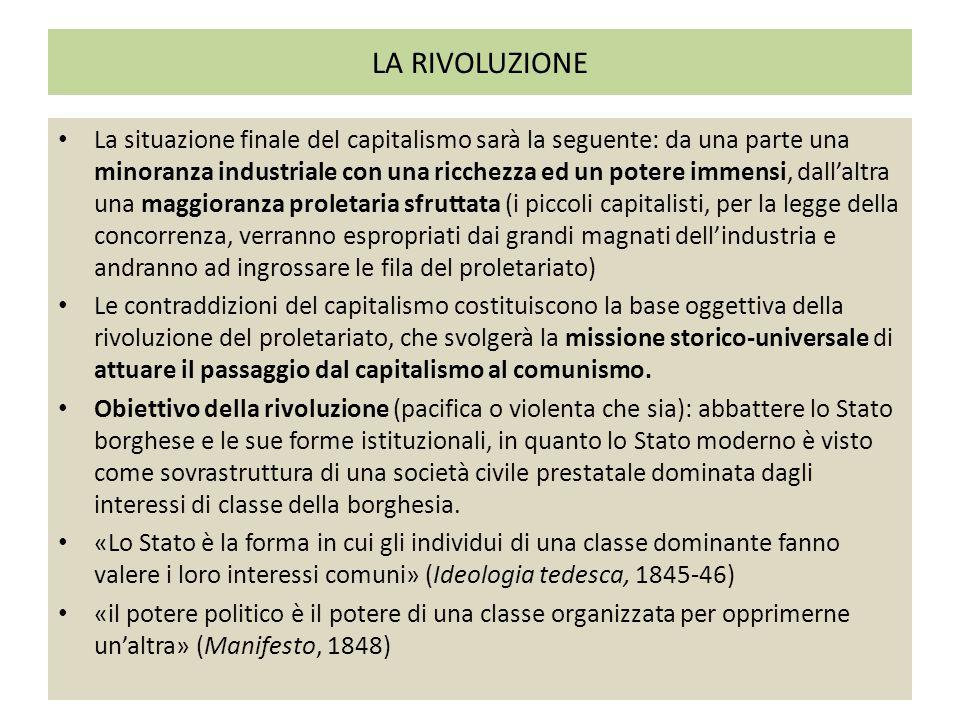LA RIVOLUZIONE La situazione finale del capitalismo sarà la seguente: da una parte una minoranza industriale con una ricchezza ed un potere immensi, d