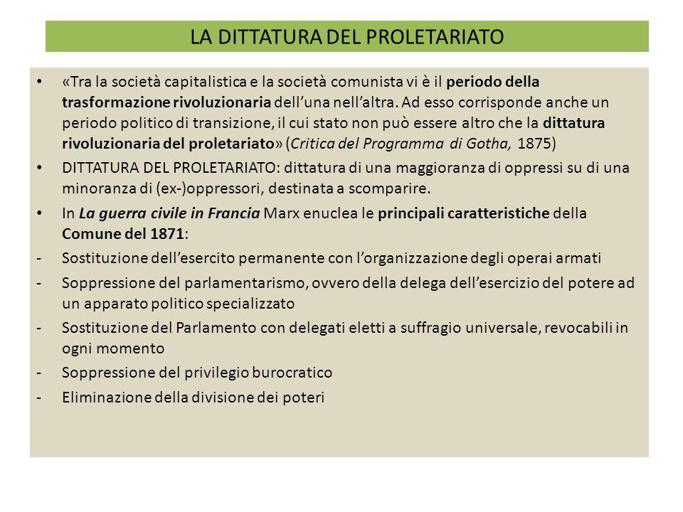 LA DITTATURA DEL PROLETARIATO «Tra la società capitalistica e la società comunista vi è il periodo della trasformazione rivoluzionaria dell'una nell'a