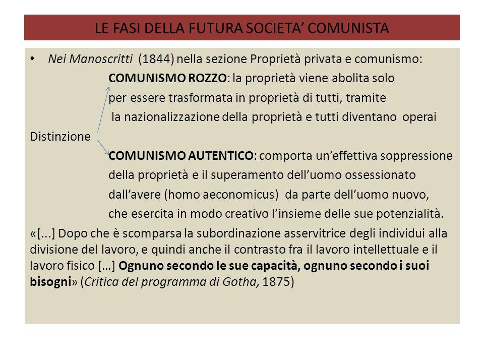 LE FASI DELLA FUTURA SOCIETA' COMUNISTA Nei Manoscritti (1844) nella sezione Proprietà privata e comunismo: COMUNISMO ROZZO: la proprietà viene abolit
