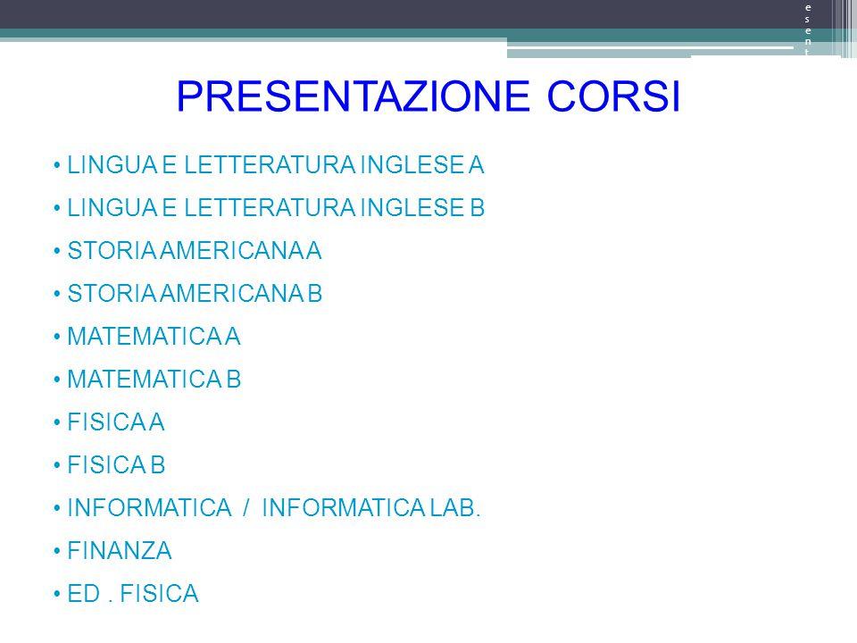 Presentazione argomentiPresentazione argomenti PRESENTAZIONE CORSI LINGUA E LETTERATURA INGLESE A LINGUA E LETTERATURA INGLESE B STORIA AMERICANA A STORIA AMERICANA B MATEMATICA A MATEMATICA B FISICA A FISICA B INFORMATICA / INFORMATICA LAB.