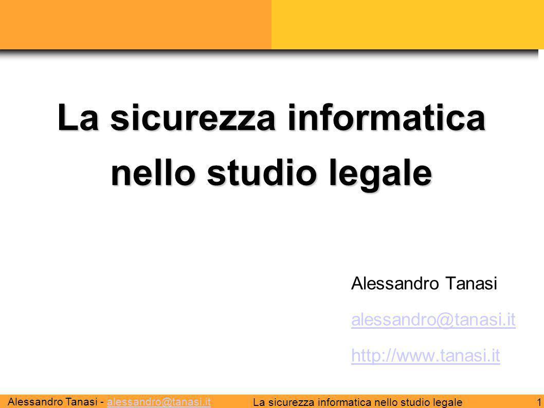 Alessandro Tanasi - alessandro@tanasi.italessandro@tanasi.it 1La sicurezza informatica nello studio legale Alessandro Tanasi alessandro@tanasi.it http