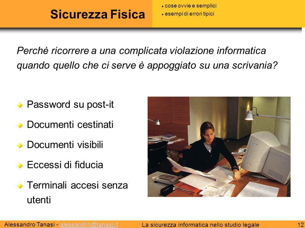 Alessandro Tanasi - alessandro@tanasi.italessandro@tanasi.it 12La sicurezza informatica nello studio legale Sicurezza Fisica Password su post-it Docum