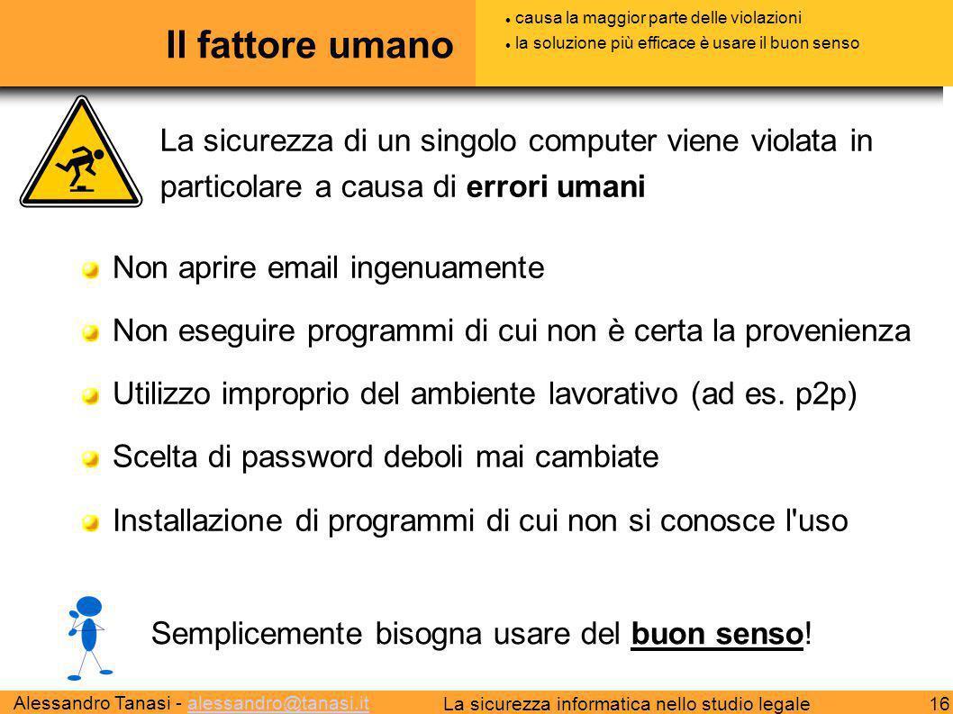 Alessandro Tanasi - alessandro@tanasi.italessandro@tanasi.it 16La sicurezza informatica nello studio legale Il fattore umano Non aprire email ingenuam