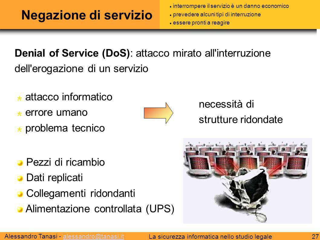 Alessandro Tanasi - alessandro@tanasi.italessandro@tanasi.it 27La sicurezza informatica nello studio legale Negazione di servizio Denial of Service (D