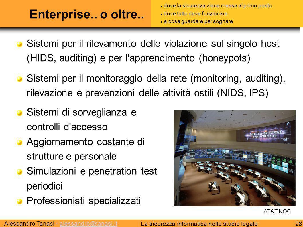 Alessandro Tanasi - alessandro@tanasi.italessandro@tanasi.it 28La sicurezza informatica nello studio legale Enterprise.. o oltre.. Sistemi per il rile