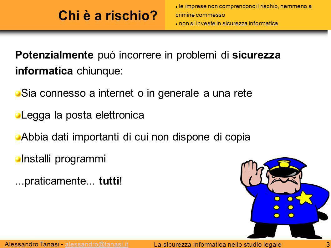 Alessandro Tanasi - alessandro@tanasi.italessandro@tanasi.it 3La sicurezza informatica nello studio legale Chi è a rischio? Potenzialmente può incorre