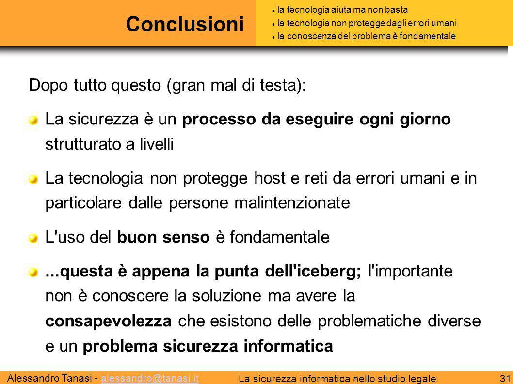 Alessandro Tanasi - alessandro@tanasi.italessandro@tanasi.it 31La sicurezza informatica nello studio legale Conclusioni Dopo tutto questo (gran mal di