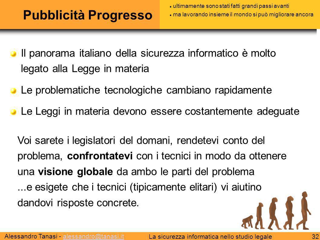 Alessandro Tanasi - alessandro@tanasi.italessandro@tanasi.it 32La sicurezza informatica nello studio legale Pubblicità Progresso Il panorama italiano