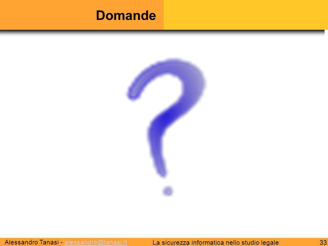 Alessandro Tanasi - alessandro@tanasi.italessandro@tanasi.it 33La sicurezza informatica nello studio legale Domande