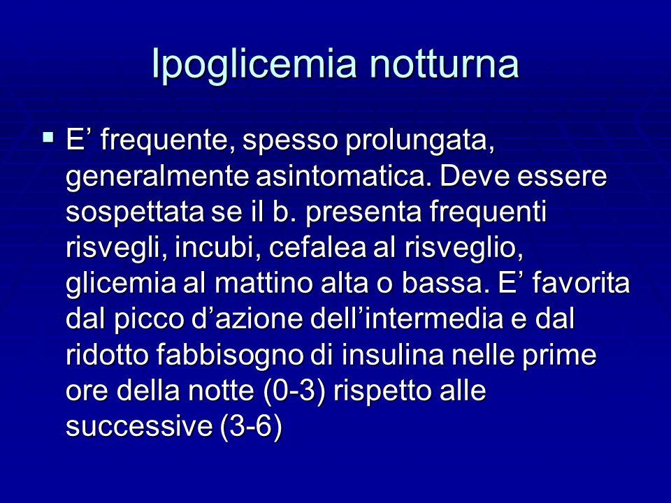 Ipoglicemia notturna  E' frequente, spesso prolungata, generalmente asintomatica.