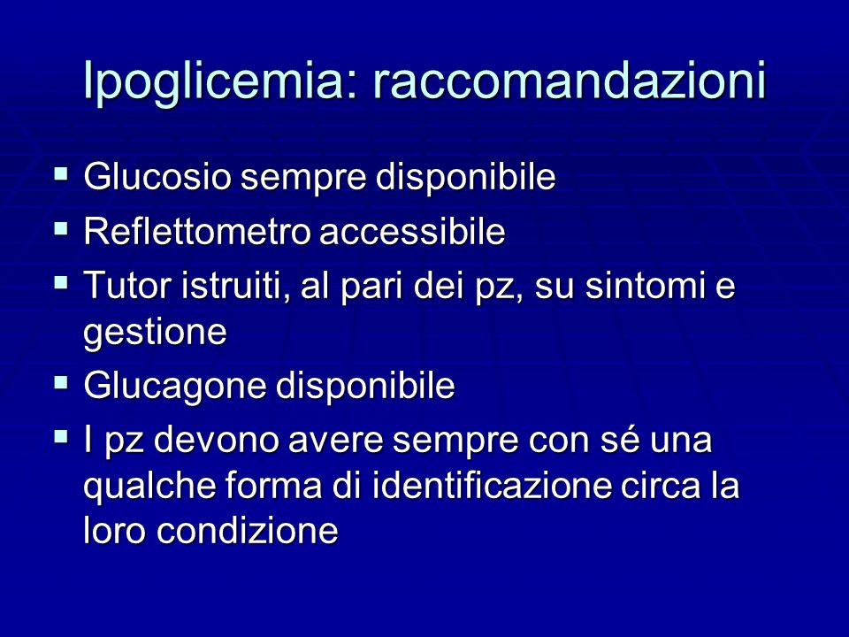 Ipoglicemia: raccomandazioni  Glucosio sempre disponibile  Reflettometro accessibile  Tutor istruiti, al pari dei pz, su sintomi e gestione  Glucagone disponibile  I pz devono avere sempre con sé una qualche forma di identificazione circa la loro condizione