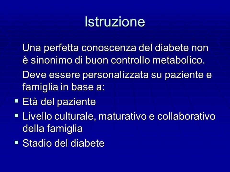 Istruzione Una perfetta conoscenza del diabete non è sinonimo di buon controllo metabolico.