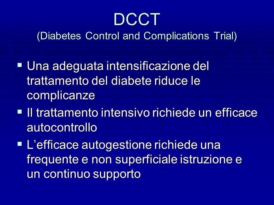 DCCT (Diabetes Control and Complications Trial)  Una adeguata intensificazione del trattamento del diabete riduce le complicanze  Il trattamento intensivo richiede un efficace autocontrollo  L'efficace autogestione richiede una frequente e non superficiale istruzione e un continuo supporto