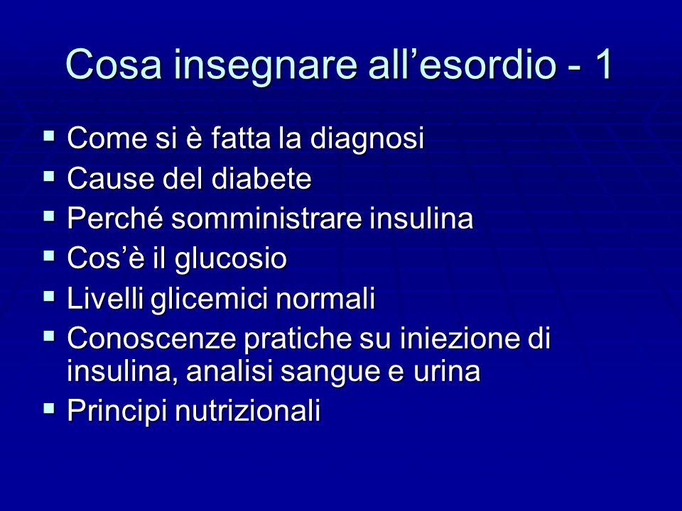 Cosa insegnare all'esordio - 1  Come si è fatta la diagnosi  Cause del diabete  Perché somministrare insulina  Cos'è il glucosio  Livelli glicemici normali  Conoscenze pratiche su iniezione di insulina, analisi sangue e urina  Principi nutrizionali