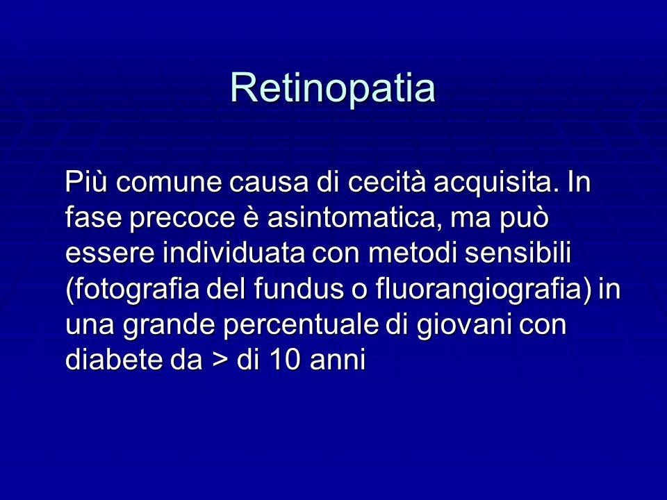 Retinopatia Più comune causa di cecità acquisita.