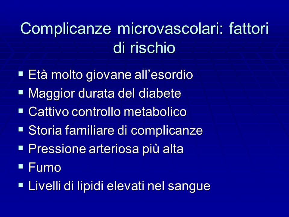 Complicanze microvascolari: fattori di rischio  Età molto giovane all'esordio  Maggior durata del diabete  Cattivo controllo metabolico  Storia familiare di complicanze  Pressione arteriosa più alta  Fumo  Livelli di lipidi elevati nel sangue