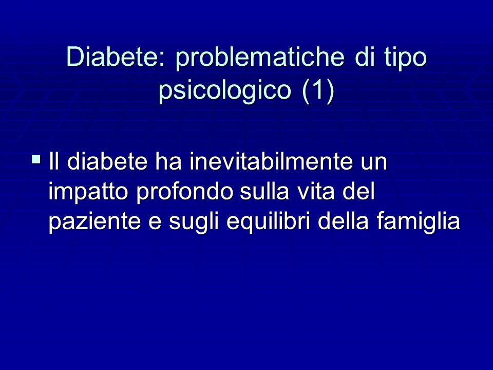 Diabete: problematiche di tipo psicologico (1)  Il diabete ha inevitabilmente un impatto profondo sulla vita del paziente e sugli equilibri della famiglia