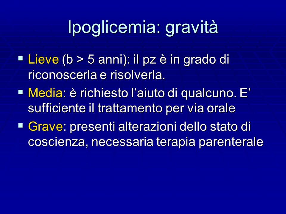 Ipoglicemia: gravità  Lieve (b > 5 anni): il pz è in grado di riconoscerla e risolverla.
