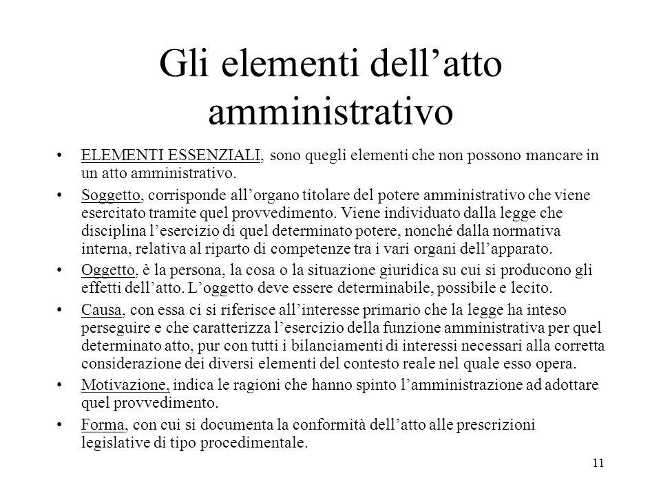 11 Gli elementi dell'atto amministrativo ELEMENTI ESSENZIALI, sono quegli elementi che non possono mancare in un atto amministrativo. Soggetto, corris