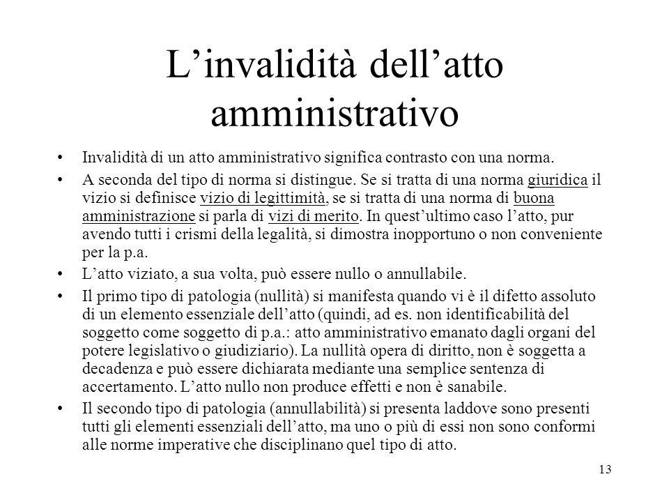 13 L'invalidità dell'atto amministrativo Invalidità di un atto amministrativo significa contrasto con una norma. A seconda del tipo di norma si distin