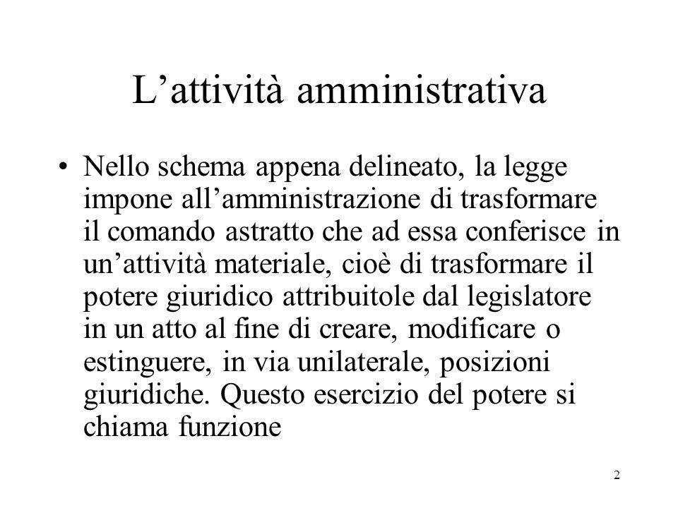3 L'attività amministrativa In realtà, ogni esercizio di potere (anche legislativo e giudiziario) dà luogo ad una funzione.