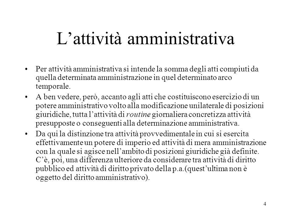 4 L'attività amministrativa Per attività amministrativa si intende la somma degli atti compiuti da quella determinata amministrazione in quel determin
