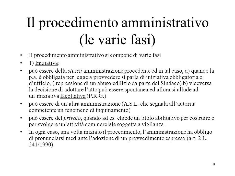9 Il procedimento amministrativo (le varie fasi) Il procedimento amministrativo si compone di varie fasi 1) Iniziativa: può essere della stessa ammini